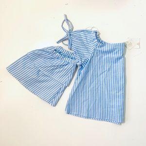 Zara stripe detachable sleeve off shoulder blouse